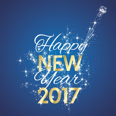 2017 Happy New Year firework blue background vector
