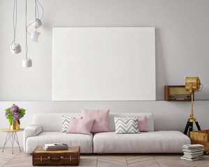 mock up blank poster on the wall of living room, 3D rendering, 3D illustration