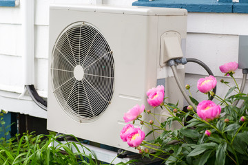 Heat Pump among the flowers in a home garden.