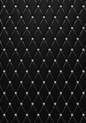 The black Button-Tufted leather texture of the quilted skin with diamond