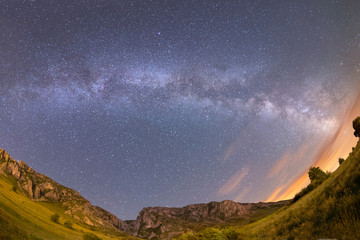 Milky way over Piatra Secuiului in Romania