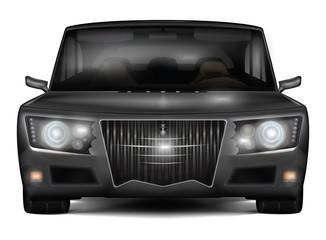 Modern dark silver car with retro design elements. Front view.