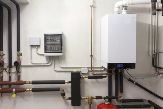 condensing boiler gas and solar tank in the boiler room