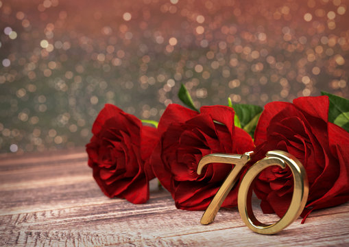 birthday concept with red roses on wooden desk. seventieth. 70th. 3D render