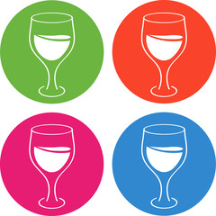Glass, wineglass. Colorful icons. Coctails, champagne, wine, martini, lemonade, juice