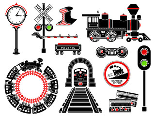 Railroad icons set, simple style