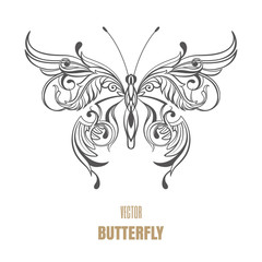 Outline vector butterfly on white background. Decorative ornament wings.