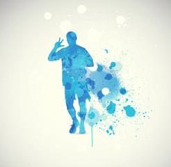 People running. Vintage sport illustration