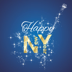 Happy New Year firework blue background vector