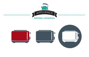 Appliance kitchen collection. Modern electric Toaster. Icon. Symbol. Vector.