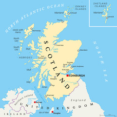 Independent Scotland political map with capital Edinburgh, national borders and important cities. Fictive map of Sotland as independent sovereign state after leaving United Kingdom. English labeling.