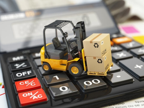 Forklift with cardboxes on calculator. Calculation of shipping d