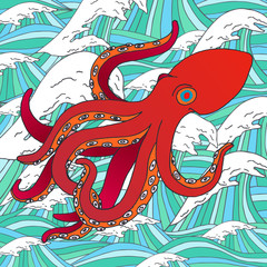 Vector hand drawn octopus. Sea octopus sketch with waves on background