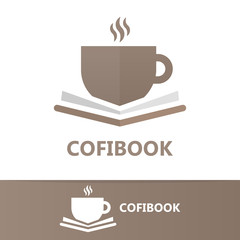 Vector book and a cup of coffee logo concept