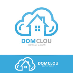 Vector cloud and house logo concept