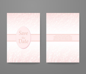 Business card with trendy color rose quartz. Flyer template set, invitation collection, abstract elegant pattern vector design.