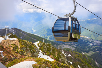 Cable car in the scenic mountains at the summer, Sochi, Russia
