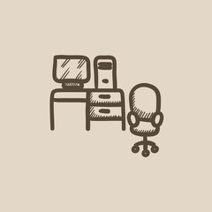 Computer set with table and chair sketch icon.