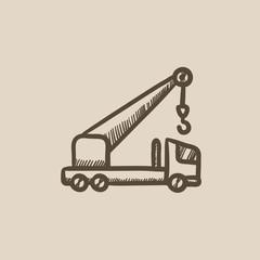 Mobile crane sketch icon.