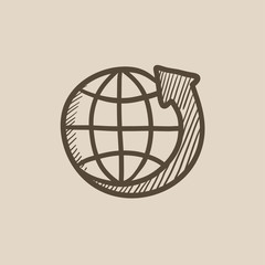 Earth and arrow around sketch icon.