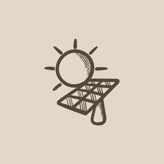Solar energy sketch icon.