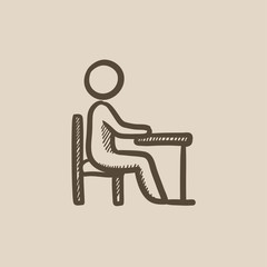 Student sitting on chair at the desk sketch icon.