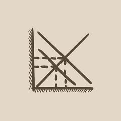 Mathematical graph sketch icon.