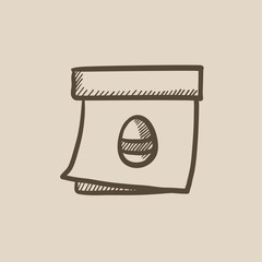 Calendar with Easter egg  sketch icon.