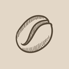 Coffee bean sketch icon.