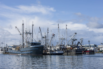 Docked commercial fishing boats.