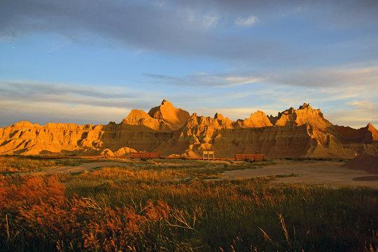 Sunrise landscape at Badlands National Park in South Dakota