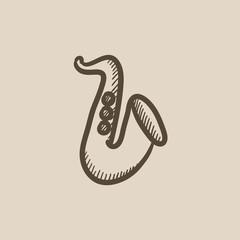 Saxophone sketch icon.
