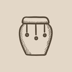 Drum instrument sketch icon.