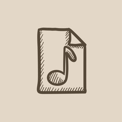 Musical note drawn on sheet sketch icon.