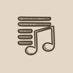 Musical note sketch icon.