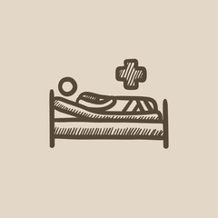 Patient lying on bed sketch icon.
