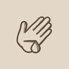 Wounded palm sketch icon.