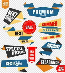 Set of retro labels and banners isolated on white. Vector Illustration