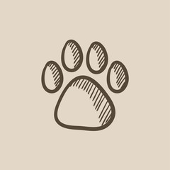 Paw print sketch icon.