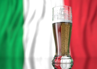 a glass of beer in front a xxxx flag. 3D illustration rendering.