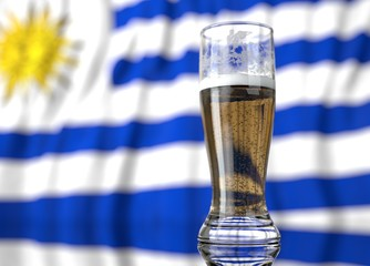 a glass of beer in front a Uruguayan flag. 3D illustration rendering.