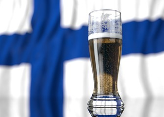 a glass of beer in front a Finland  flag. 3D illustration rendering.