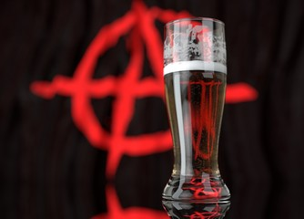 a glass of beer in front a anarchist flag. 3D illustration rendering.