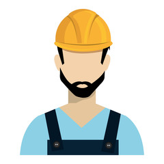 avatar construction man wearing colorful clothes and yellow helmet over isolated background, vector illustration