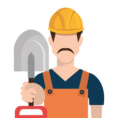 avatar construction man with grey shovel and yellow  helmet over isolated background, vector illustration