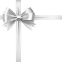 silver ribbon bow over white background. vector decorative desi