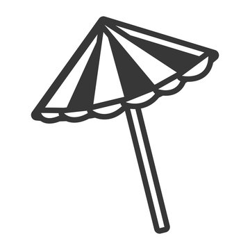 black and white beach umbrella front view over isolated background, vector illustration