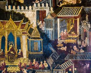 Thai mural painting at Wat Phra Kaew in Bangkok, Thailand.
