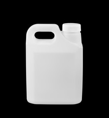 White plastic gallon,isolated on black background