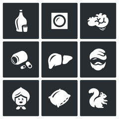 Vector Set of Alcohol Addiction Icons. Hooch, patch, brain, pills, liver, alcoholic, old woman, pillow, squirrel.
